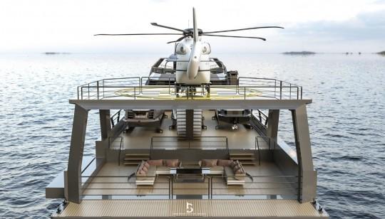 Voici un yacht avec des bébés yachts à bord, des jet-skis, un hélicoptère et même une voiture | 63 Support Yacht