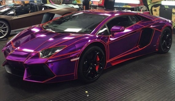 the - Lamborghini Aventador Chrome Purple