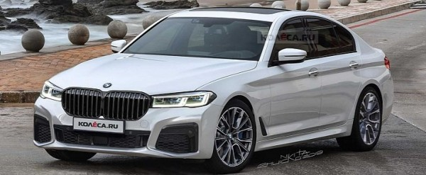 2021 bmw 5 series lci rendered  comes with huge grille