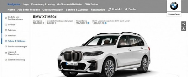 BMW X7 Configurator Launched in Germany, M50d Starts at €110,000