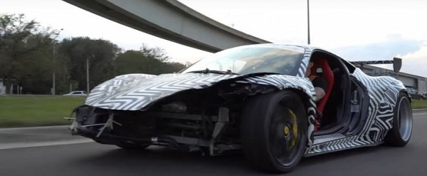 Dismantled Ferrari 458 with Broken Nose Goes Street Drifting
