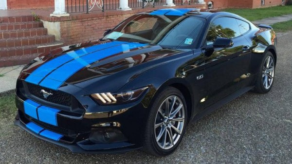 Grabber Blue Stripes On 2015 Ford Mustang Gt Fastback Are A Must