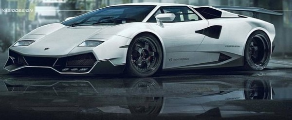 Lamborghini Countach Gets Murcielago Sv Nose In Brutal Rendering