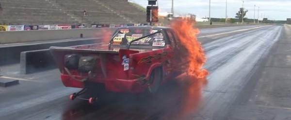 Nitrous Backfire Blows Chevrolet S-10 Drag Racer Engine