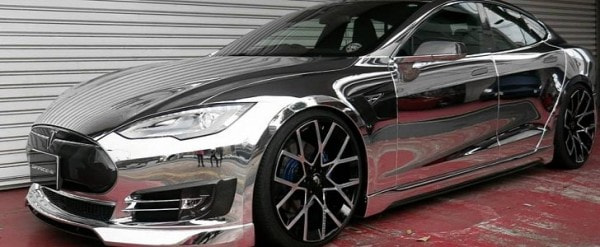Office K Tesla Model S Is All Chrome Except For The 22 Inch