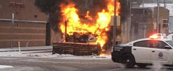 Snow Plow Burns To Bare Metal Near Fire Station That Was