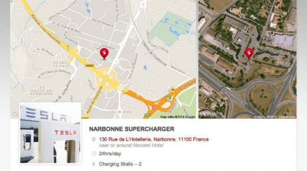 tesla opens supercharger station in france euro network. Black Bedroom Furniture Sets. Home Design Ideas
