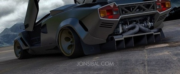 Twin Turbo Lamborghini Countach Rendering Has Sesto Elemento Like