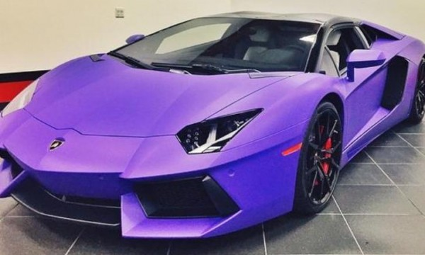 Tyga Gets The Gold Wrap Off His Aventador Roadster Puts A Purple