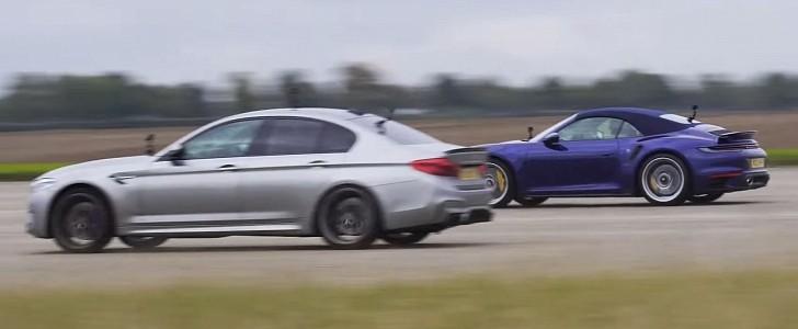 1000 HP BMW M5 Destroys Porsche 911 Turbo S in Drag Race