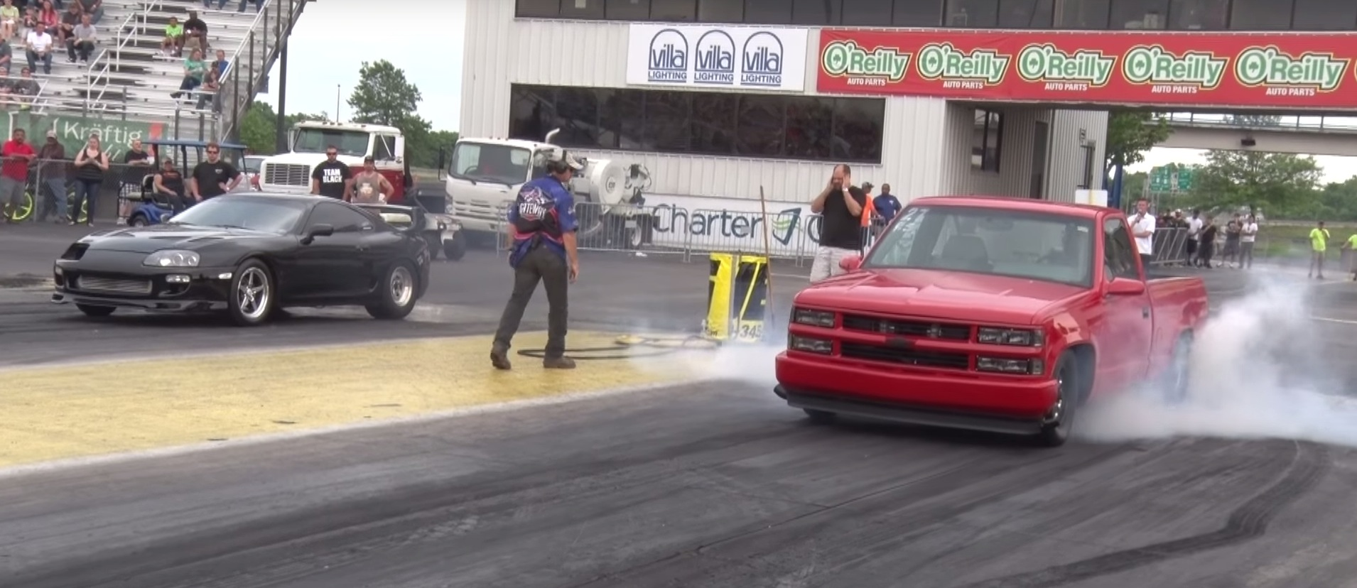 1,500 HP Supra Drag Races 1,600 HP Twin-Turbo Chevy Silverado with ...