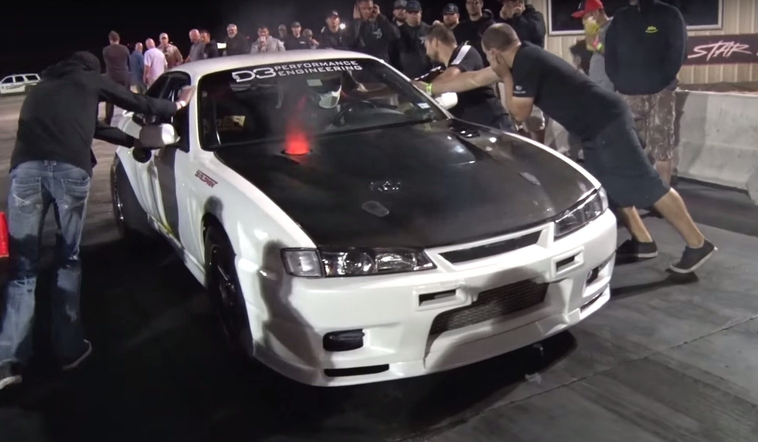 1 600 Hp 2jz Nissan 240sx Goes Sliding At No Prep Drag Racing Event