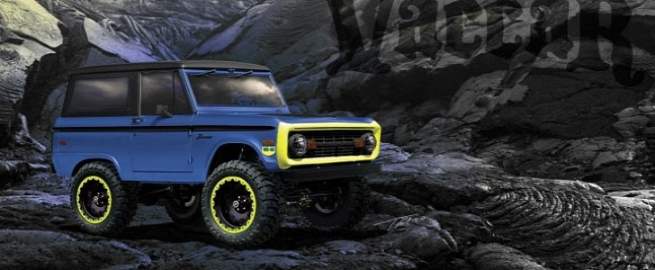 1966 Ford Bronco Gets Turbo, Blue Paint with Neon Accents for 2017 SEMA Show - autoevolution