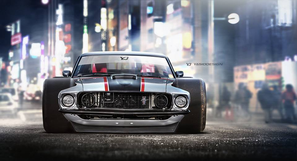 1969 Ford Mustang Mach 1 Mutant Rendering Has Nascar Tires