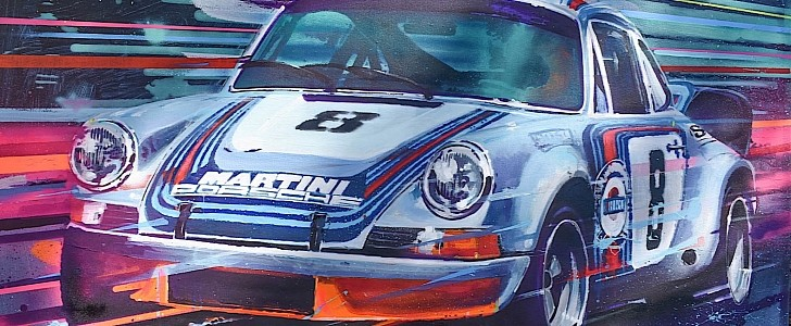 photo of 1973 Porsche 911 Carrera RSR Painting by Former Hot Wheels Exec Going for $10K image
