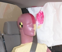 Dummy's head was protected by the side airbag