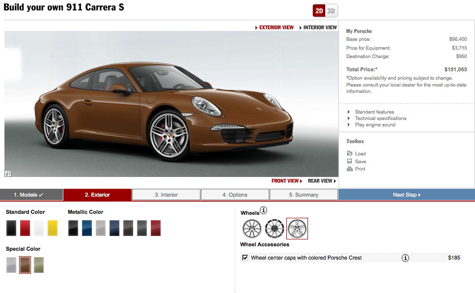2012 porsche 911 configurator comes online autoevolution. Black Bedroom Furniture Sets. Home Design Ideas