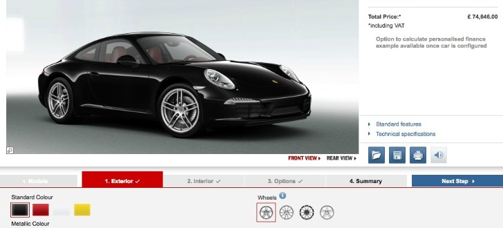 2012 Porsche 911 UK Online Configurator Launched