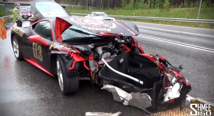 2013 Gumball 3000: Ferrari 458 Crashes Hard in the Rain [Video]
