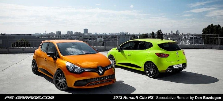 2013 renault clio rs rendering autoevolution. Black Bedroom Furniture Sets. Home Design Ideas
