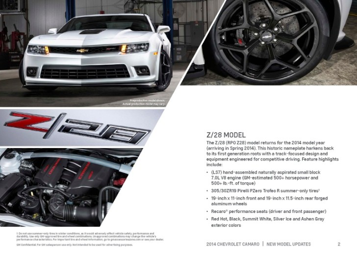 2014 Chevrolet Camaro Details Revealed by Dealer Brochure [Photo Gallery]