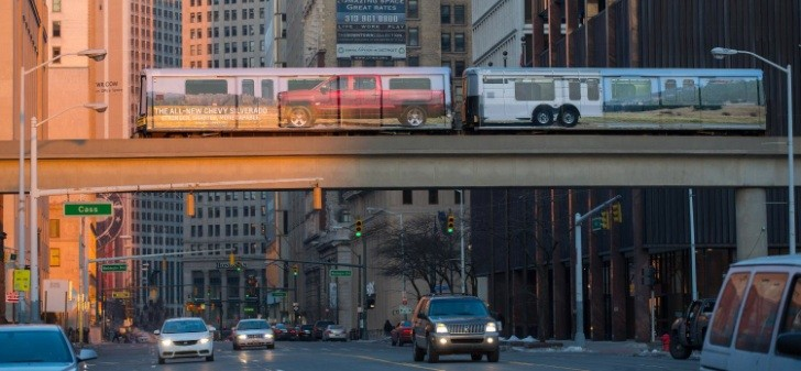2014 Chevy Silverado Rolling Through Detroit on a Train
