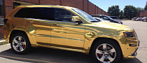 2014 Jeep Grand Cherokee SRT8 Wrapped in Gold Chrome [Photo Gallery]