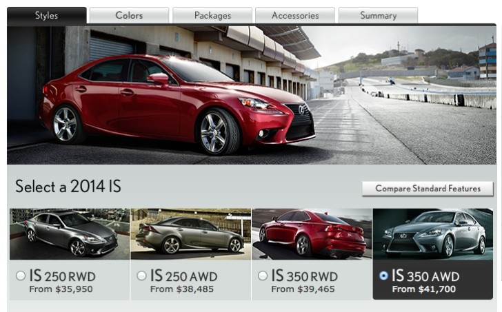 2014 Lexus IS Online Configurator Available in the US