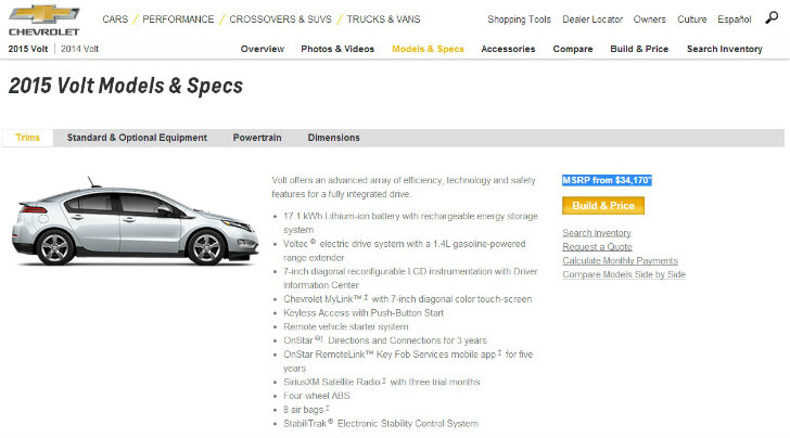 2015 Chevrolet Volt Pricing And Specs Released 17 1 Kwh