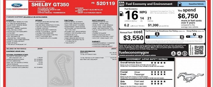 Ford Mustang Gt Ss >> 2015 Ford Mustang Shelby GT350 EPA Figures Revealed by Window Sticker - autoevolution