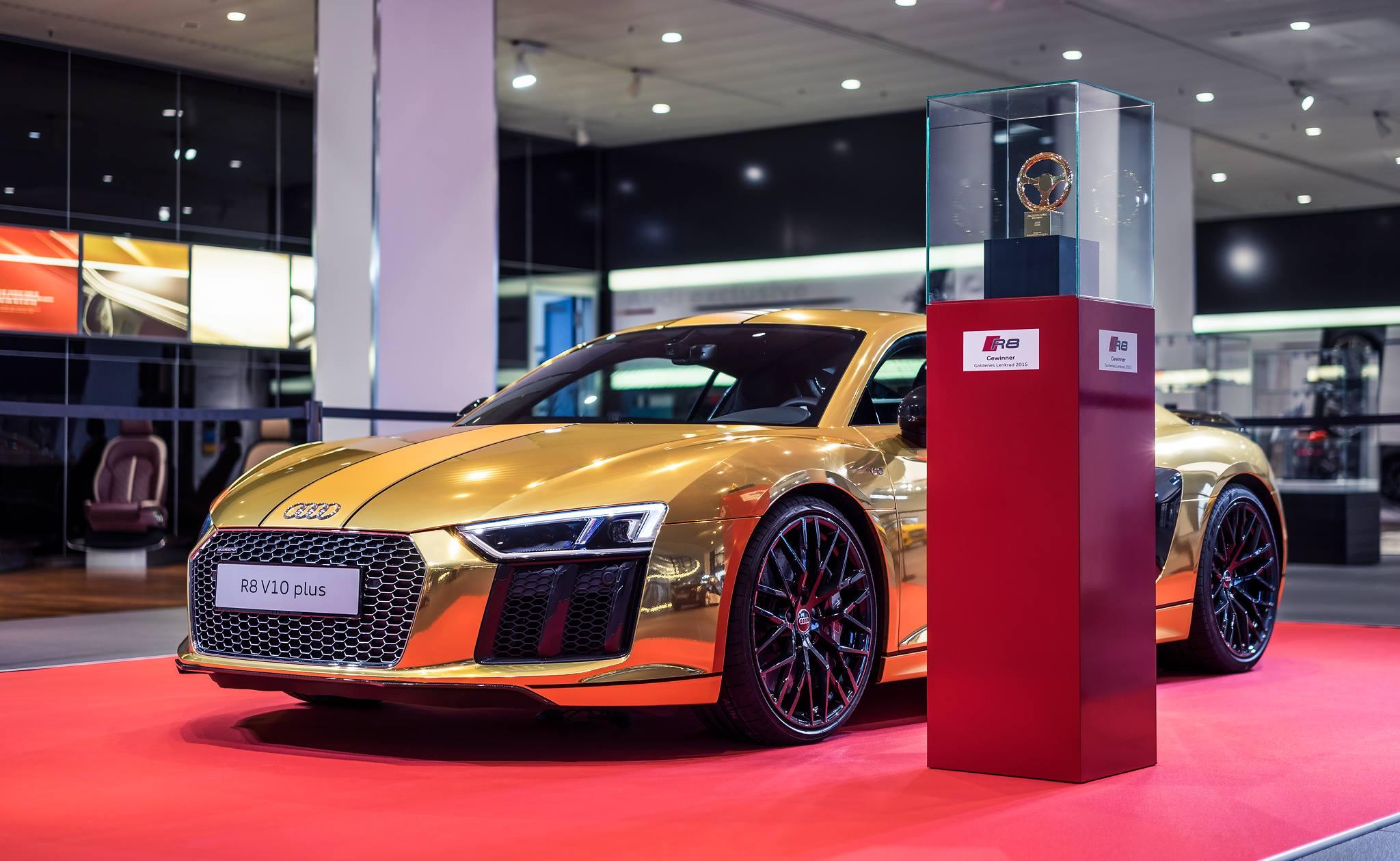 2016 Audi R8 V10 Plus Gets Official Chrome Gold Wrap Autoevolution