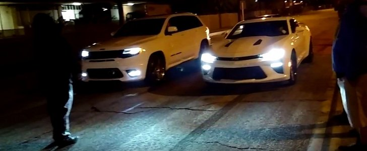 2016 Chevrolet Camaro SS vs. Jeep Grand Cherokee SRT Drag Race Gets Confusing