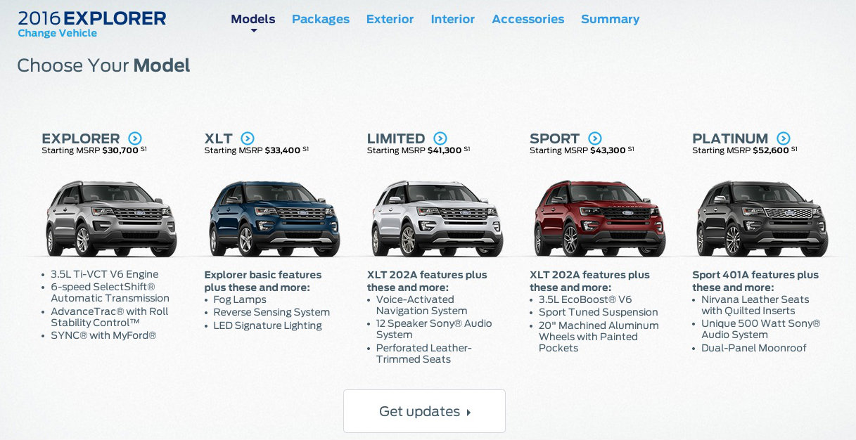 Build Your Own Ford Explorer Website Fires Up Priced At - All ford models 2016