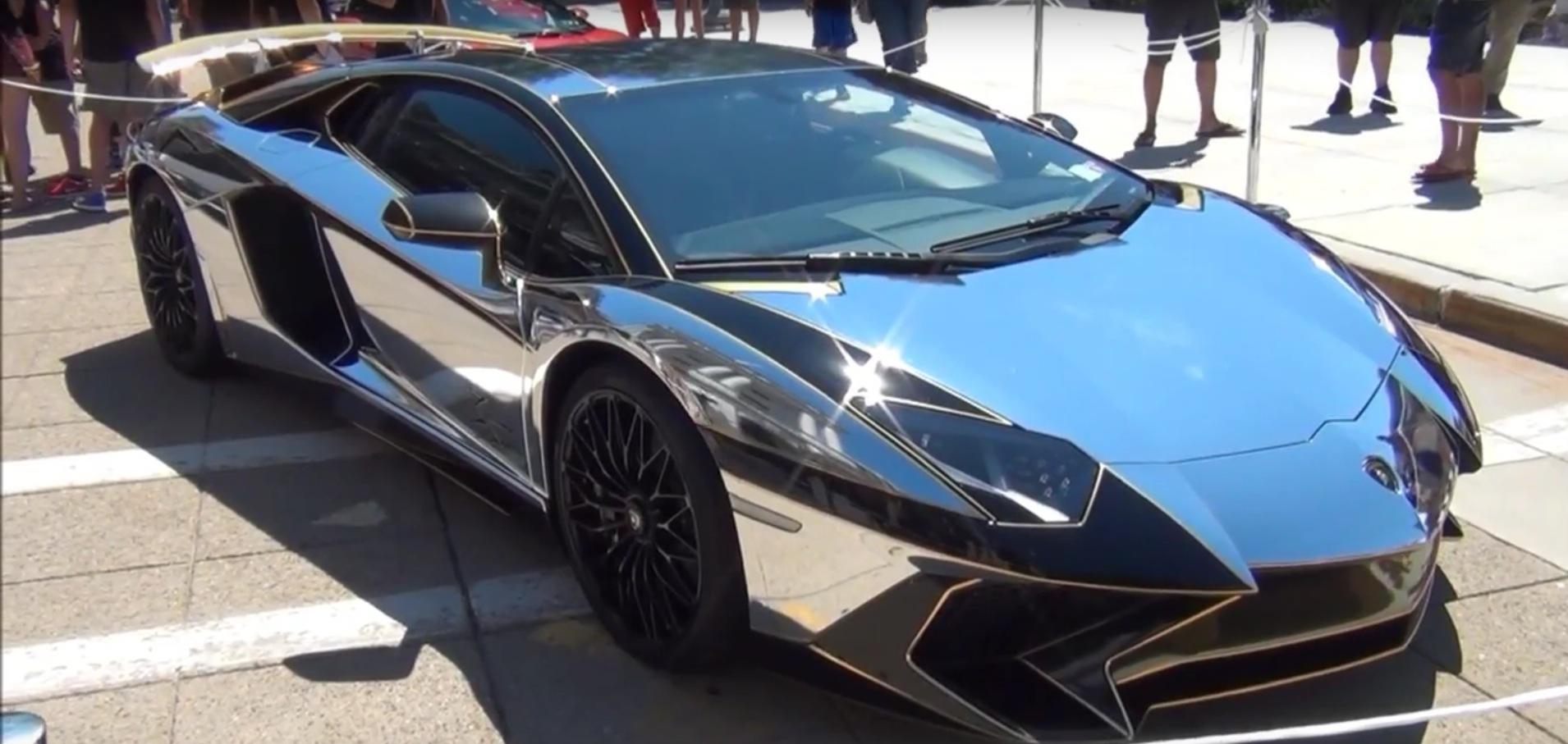 2016 Lamborghini Aventador Sv Gets Chrome Gold Wrap For