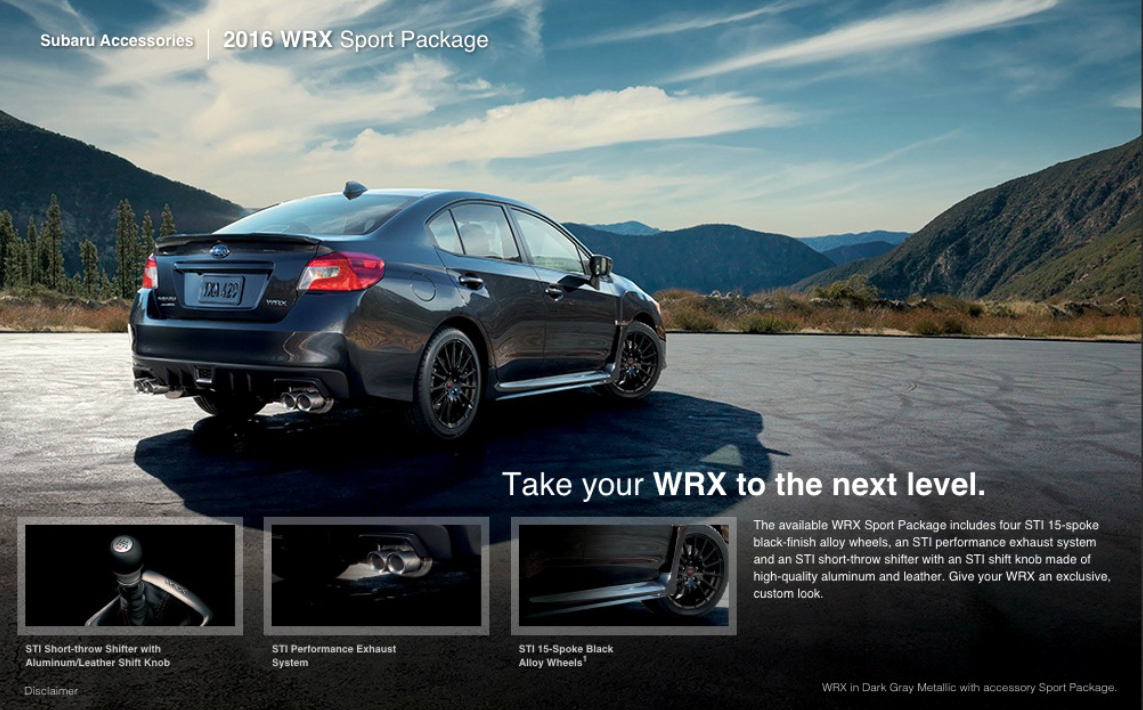 2016 Subaru Wrx Sport Package Available This Summer