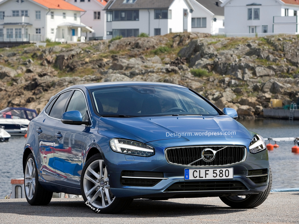 2016 volvo v40 rendering shows thor hammer led headlights autoevolution. Black Bedroom Furniture Sets. Home Design Ideas