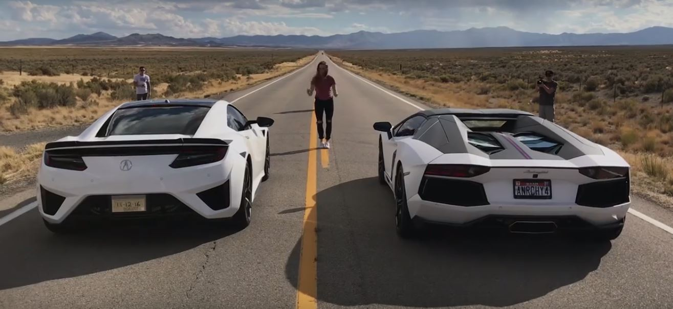2017 Acura NSX Drag Races Lamborghini Aventador with Electric Torque Surprise - autoevolution