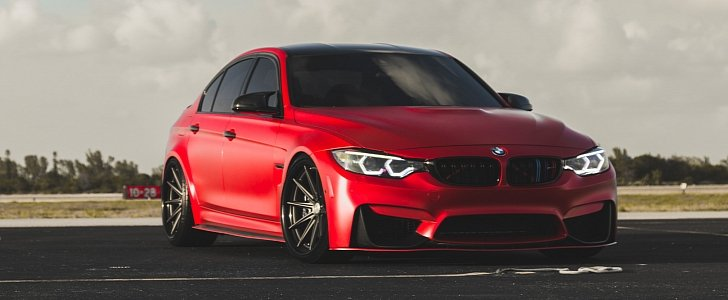 Golf R 2017 >> 2017 BMW M3 Facelift in Red Gets Custom Vossen Wheels - autoevolution