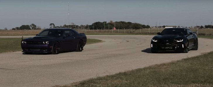 2017 Chevrolet Camaro Zl1 Drag Races Dodge Challenger