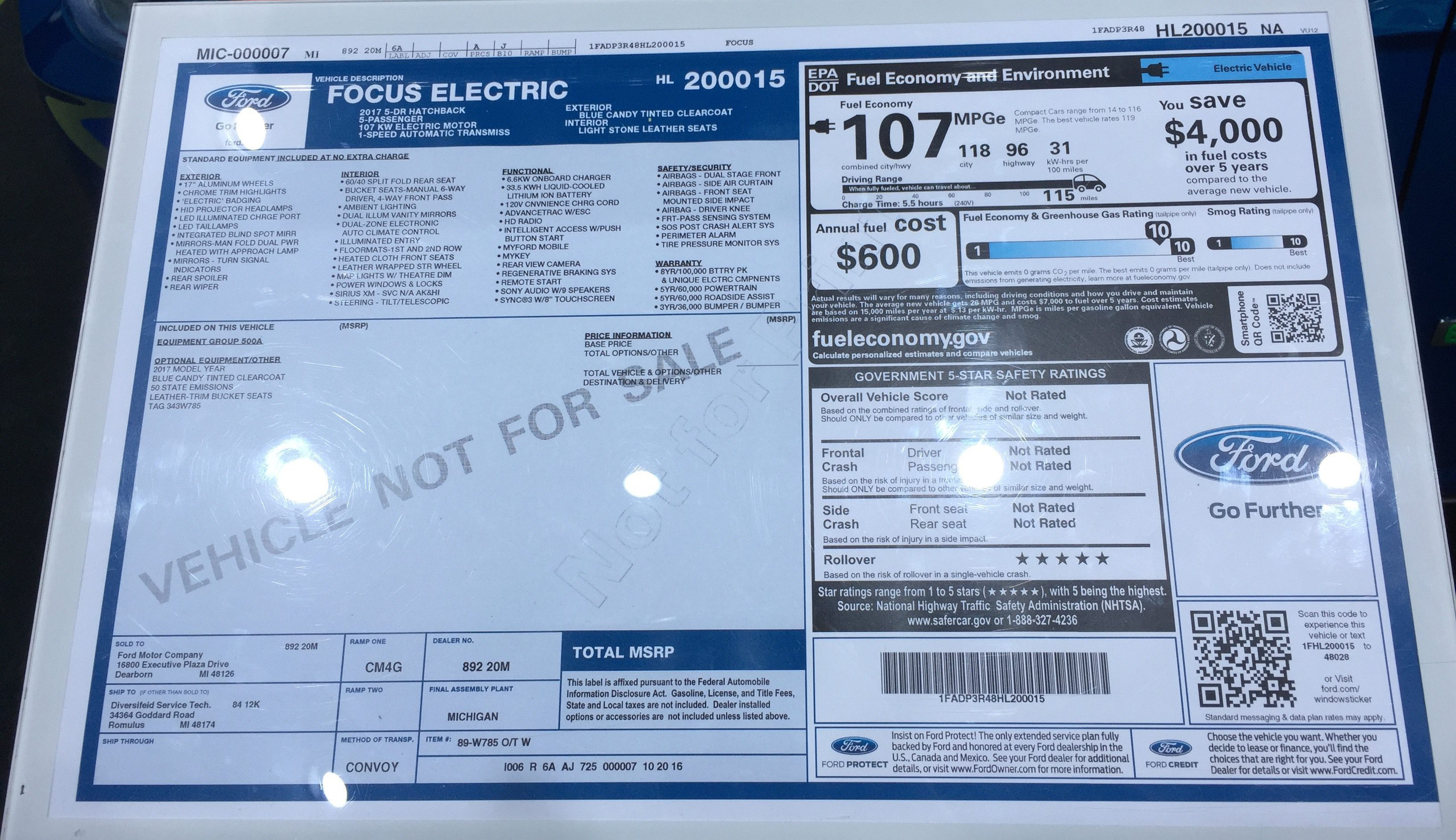 2017 Ford Focus Electric Window Sticker