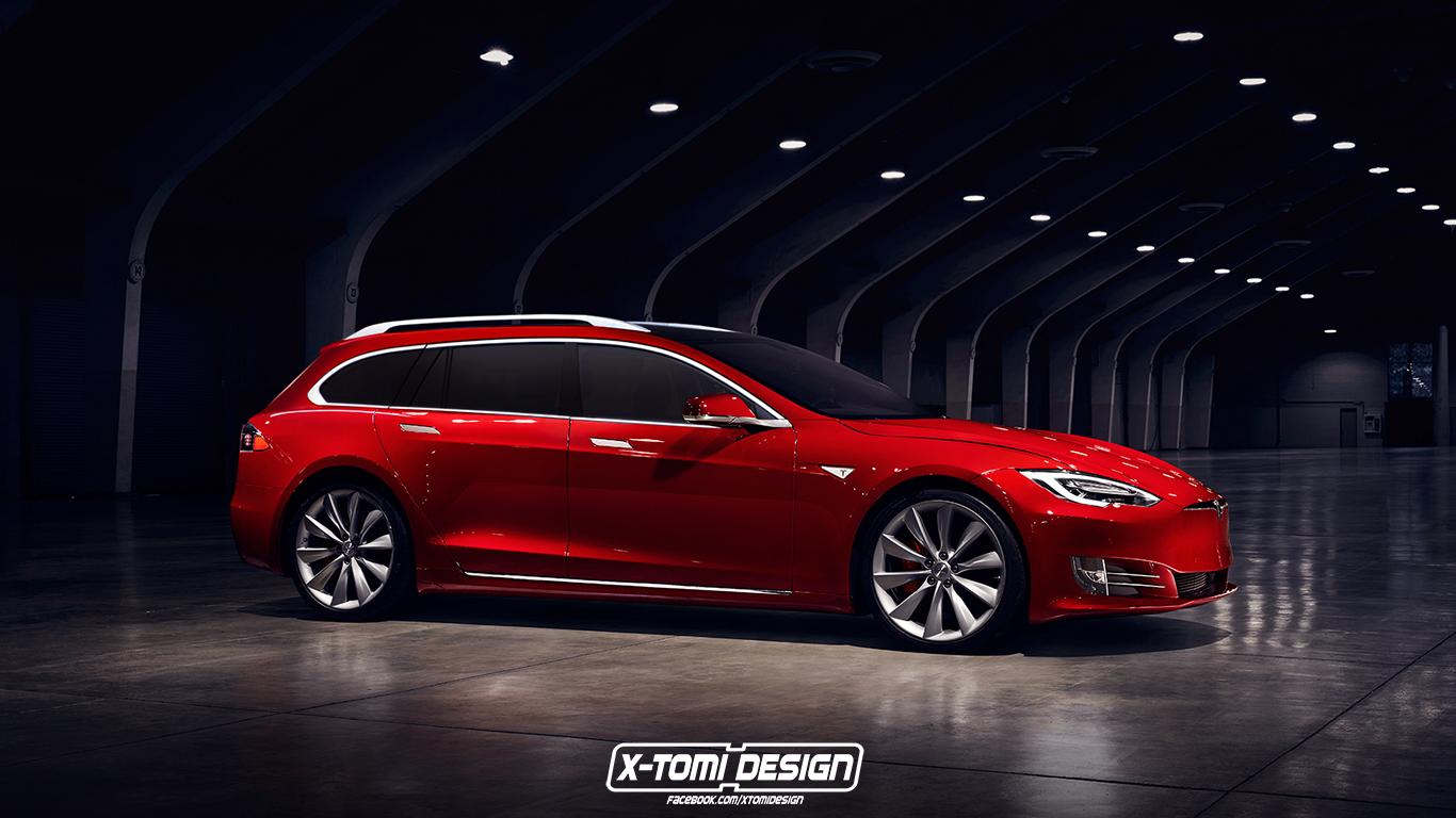 2017 Tesla Model S Wagon Rendered Based On Recent Facelift