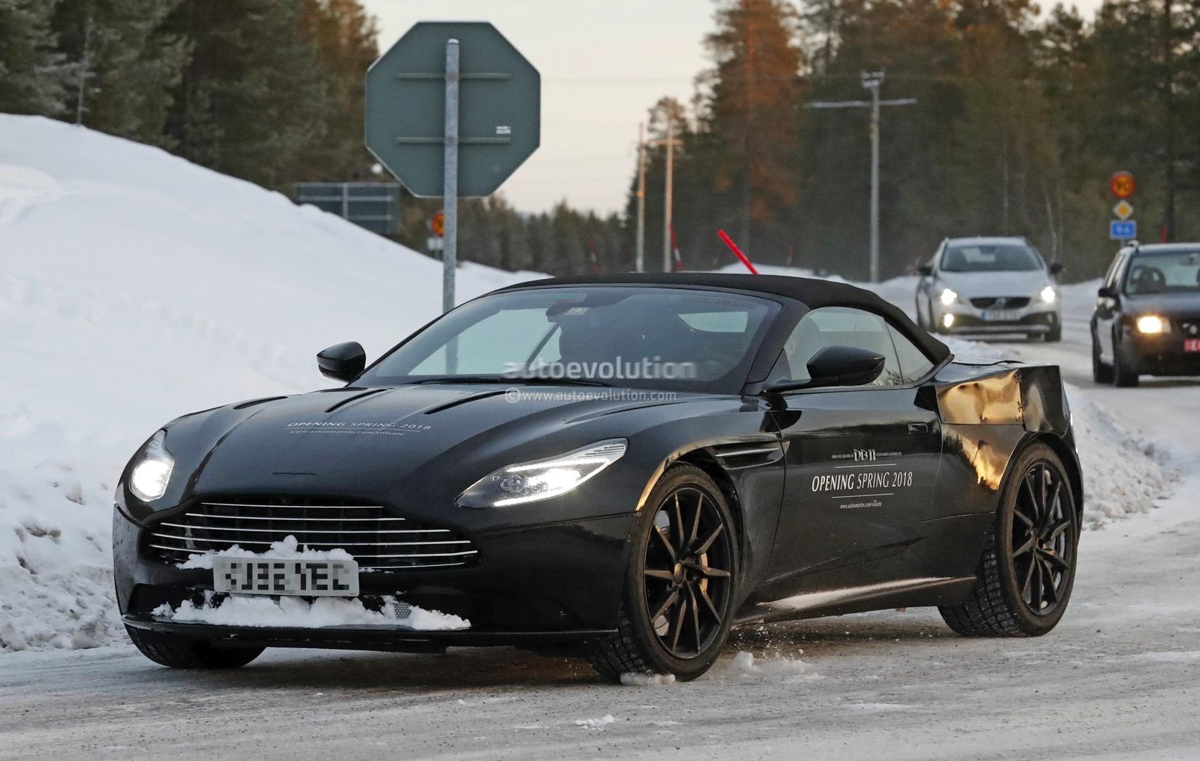 2018 Aston Martin Db11 Volante Spied Shows Modified Aeroblade Intakes Autoevolution