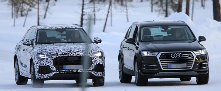 2018 Audi Q8 Vs Q7 Front And Back Spyshots Comparison Autoevolution