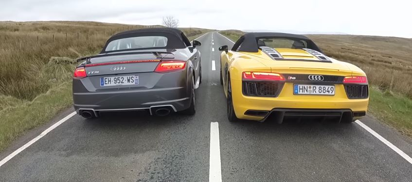 2018 audi tt rs roadster vs audi r8 v10 spyder drag race is a desperate struggle autoevolution. Black Bedroom Furniture Sets. Home Design Ideas