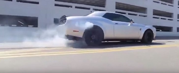 2018 Dodge Demon Does A Random Burnout Fights Its Sticky