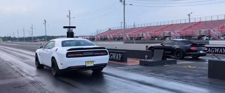 2018 Ford Mustang GT Drag Races Dodge Demon, Emotional Roller Coaster Follows - autoevolution