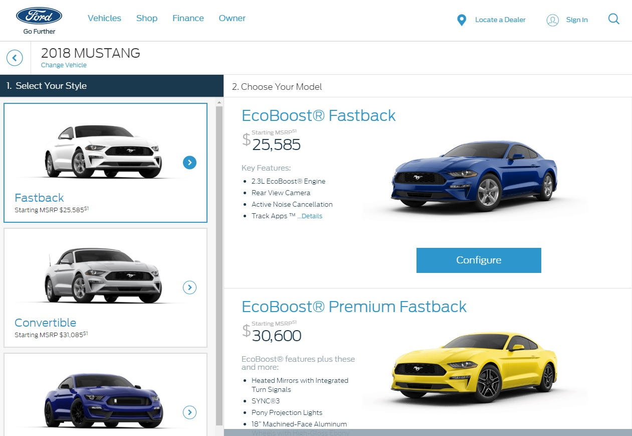 2018 Ford Mustang Priced From $25,585, Configurator Goes Live ...