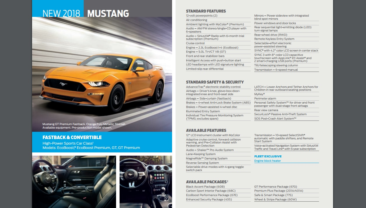 2018 Ford Mustang Detailed In Fleet Brochure - autoevolution