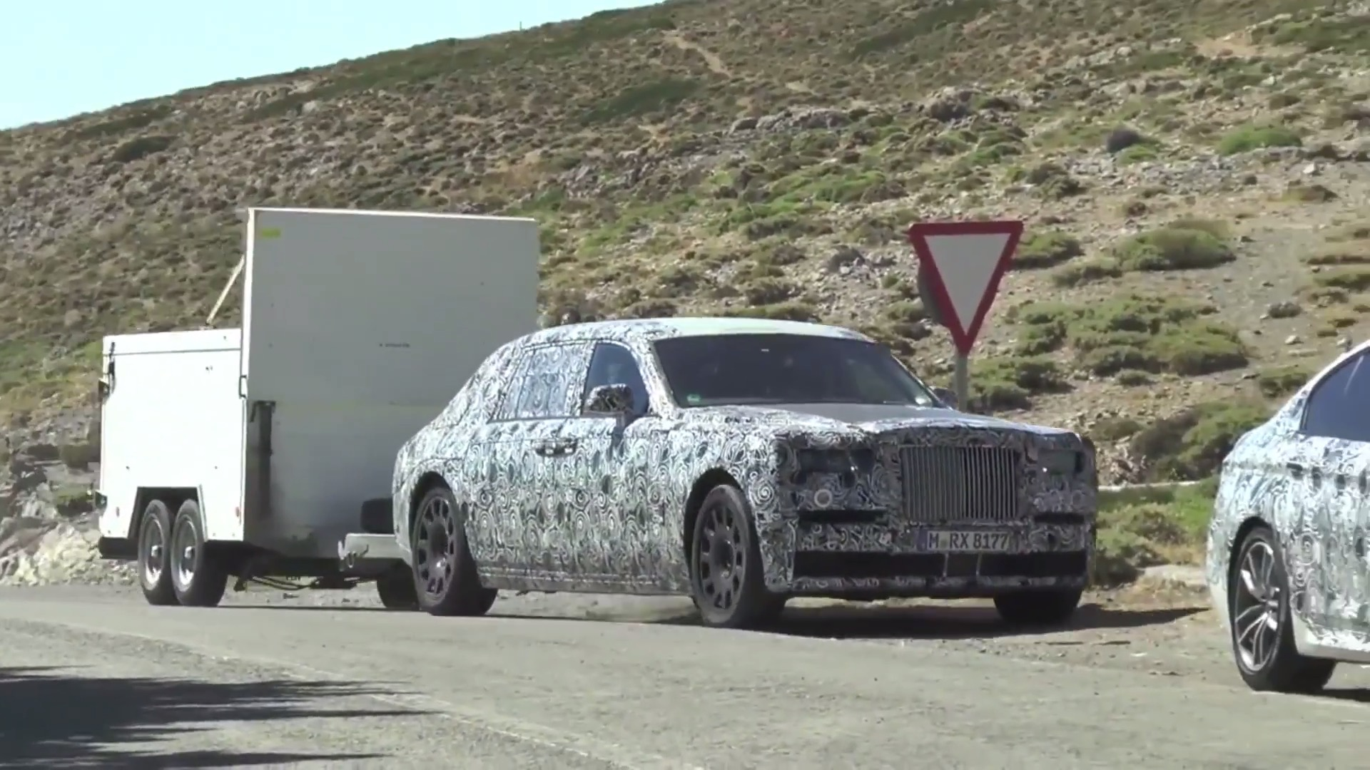 2018 Rolls Royce Phantom Spied Towing A Cargo Trailer At