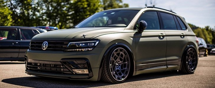 2018 VW Tiguan Lowrider Has RADI8 Wheels, Amry Wrap - autoevolution